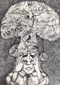 An intricate drawing of a person holding their head with thoughts building up above