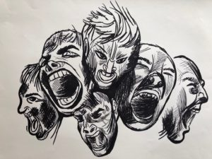 A line drawing of many faces with different angry expressions
