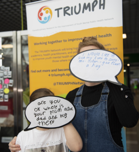 Photo of adult and child with their mental health messages