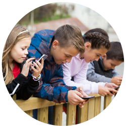 Young people on their smartphones